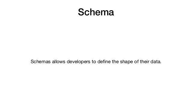 Schema Schemas allows developers to define the shape of their data.