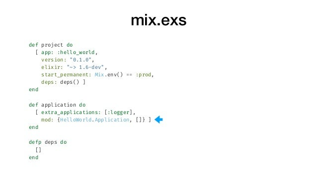 "mix.exs def project do [ app: :hello_world, version: ""0.1.0"", elixir: ""~> 1.6-dev"", start_permanent: Mix.env() == :prod, d..."