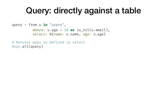 """Query: directly against a table query = from u in """"users"""", where: u.age > 18 or is_nil(u.email), select: %{name: u.name, a..."""