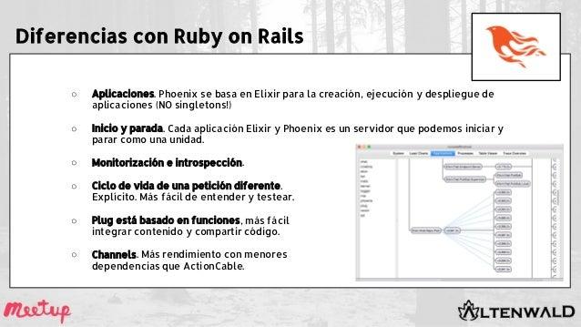 Diferencias con Ruby on Rails ○ Aplicaciones. Phoenix se basa en Elixir para la creación, ejecución y despliegue de aplica...