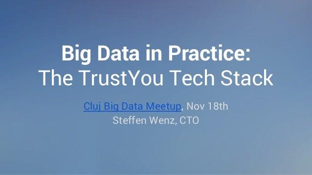 Big Data in Practice:  The TrustYou Tech Stack  Cluj Big Data Meetup, Nov 18th  Steffen Wenz, CTO