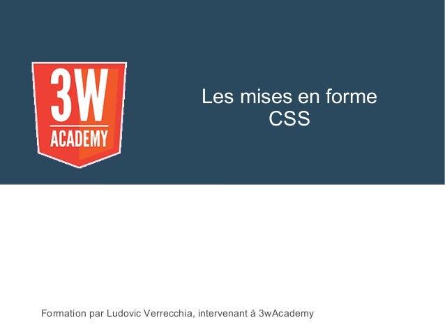 Les mises en forme CSS Formation par Ludovic Verrecchia, intervenant à 3wAcademy