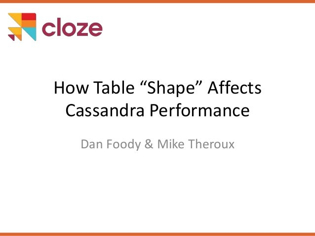 """How Table """"Shape"""" Affects Cassandra Performance Dan Foody & Mike Theroux"""