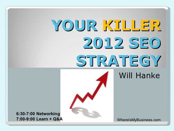 YOUR  KILLER  2012 SEO STRATEGY Will Hanke WhereIsMyBusiness.com 6:30-7:00 Networking 7:00-9:00 Learn + Q&A
