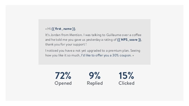 72% Opened 9% Replied 15% Clicked «Hi {{ first_name }}, It's Jordan from Mention. I was talking to Guillaume over a coffee...