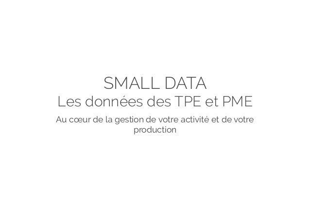 SMALL DATA Les données des TPE et PME Au cœur de la gestion de votre activité et de votre production