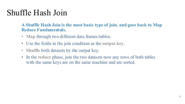 Shuffle Hash Join 25 A Shuffle Hash Join is the most basic type of join, and goes back to Map Reduce Fundamentals. • Map t...