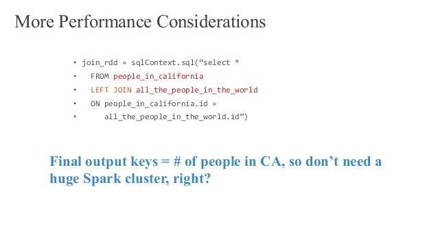 """• join_rdd = sqlContext.sql(""""select * • FROM people_in_california • LEFT JOIN all_the_people_in_the_world • ON people_in_c..."""