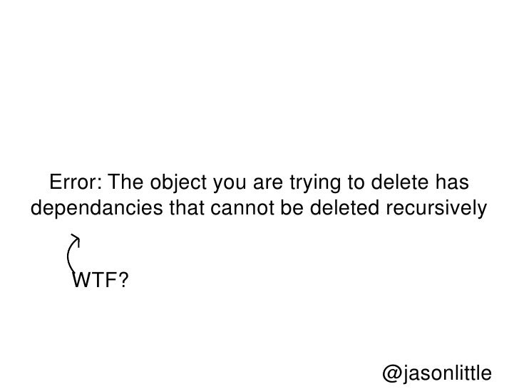 Error: The object you are trying to delete hasdependancies that cannot be deleted recursively    WTF?                     ...
