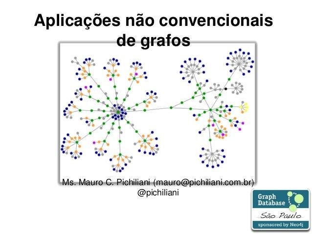 1 Aplicações não convencionais de grafos Ms. Mauro C. Pichiliani (mauro@pichiliani.com.br) @pichiliani