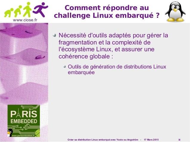 Créer sa distribution Linux embarqué avec Yocto ou Angström - 17 Mars 2015 16 www.ciose.fr Comment répondre au challengeL...