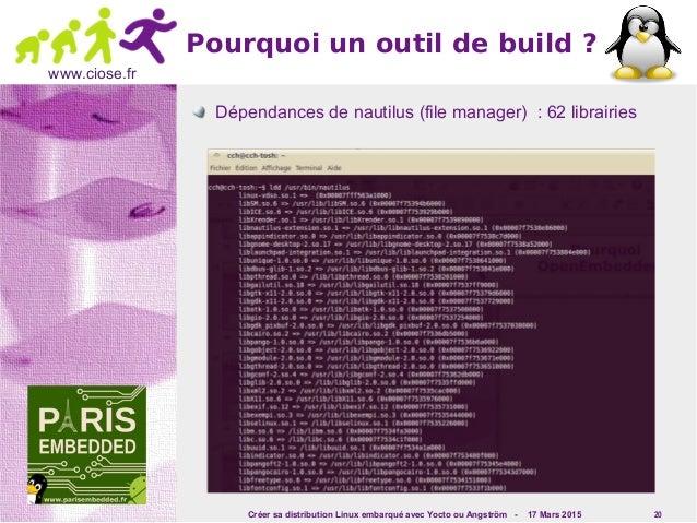 Créer sa distribution Linux embarqué avec Yocto ou Angström - 17 Mars 2015 20 www.ciose.fr Pourquoi un outil de build ? Dé...