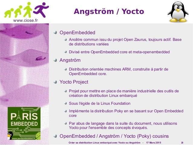 Créer sa distribution Linux embarqué avec Yocto ou Angström - 17 Mars 2015 28 www.ciose.fr OpenEmbedded Ancêtre commun iss...