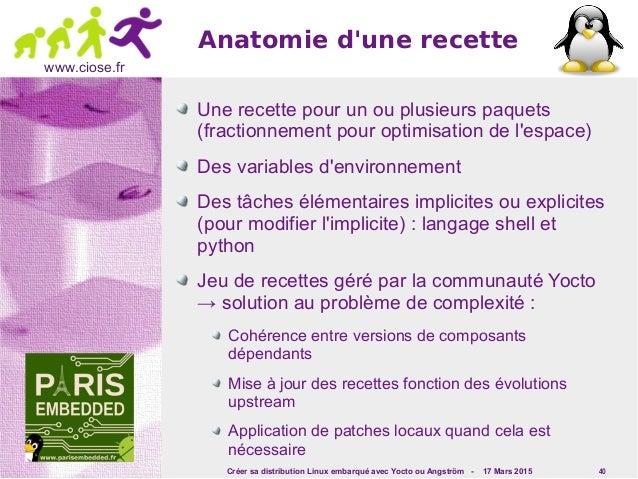 Créer sa distribution Linux embarqué avec Yocto ou Angström - 17 Mars 2015 40 www.ciose.fr Anatomie d'une recette Une rece...