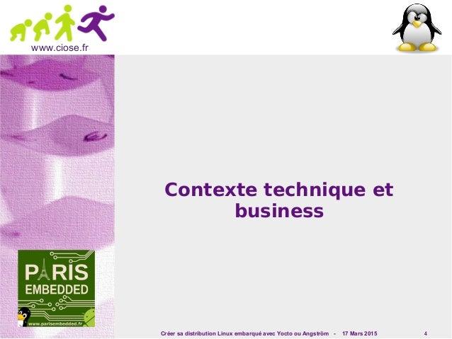 Créer sa distribution Linux embarqué avec Yocto ou Angström - 17 Mars 2015 4 www.ciose.fr Contexte technique et business