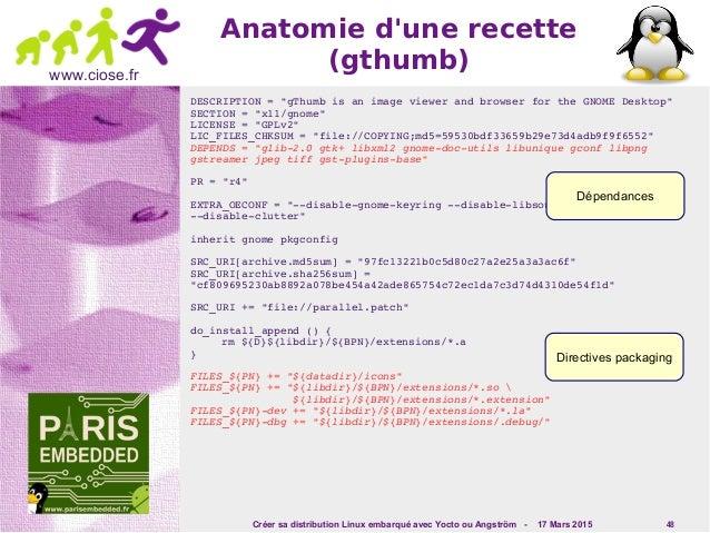 Créer sa distribution Linux embarqué avec Yocto ou Angström - 17 Mars 2015 48 www.ciose.fr Anatomie d'une recette (gthumb)...