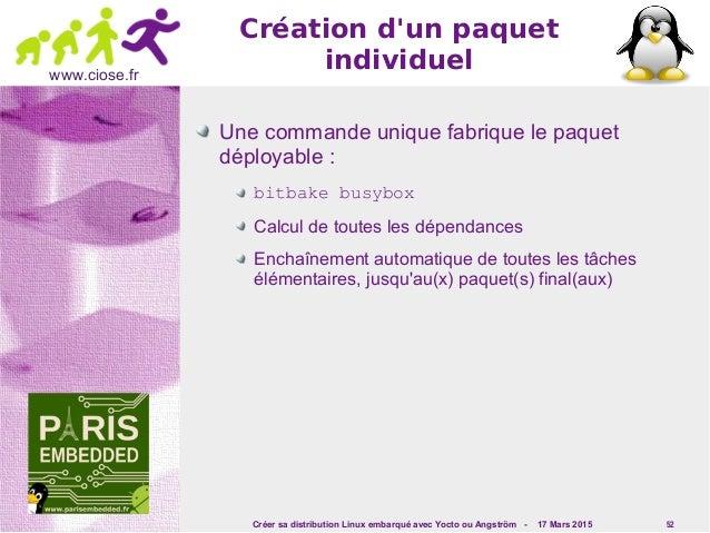 Créer sa distribution Linux embarqué avec Yocto ou Angström - 17 Mars 2015 52 www.ciose.fr Création d'un paquet individuel...