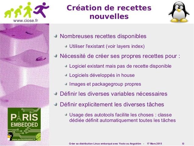 Créer sa distribution Linux embarqué avec Yocto ou Angström - 17 Mars 2015 53 www.ciose.fr Création de recettes nouvelles ...