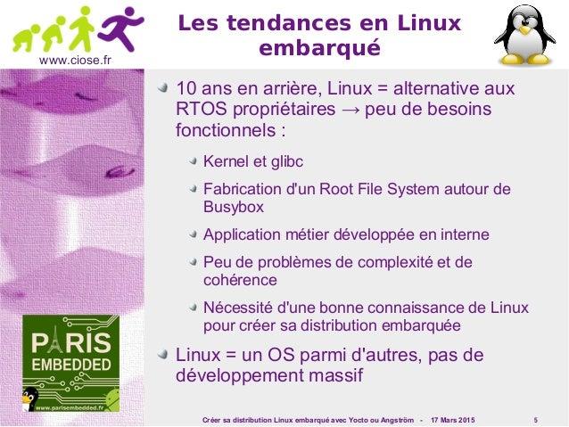 Créer sa distribution Linux embarqué avec Yocto ou Angström - 17 Mars 2015 5 www.ciose.fr Les tendances en Linux embarqué ...