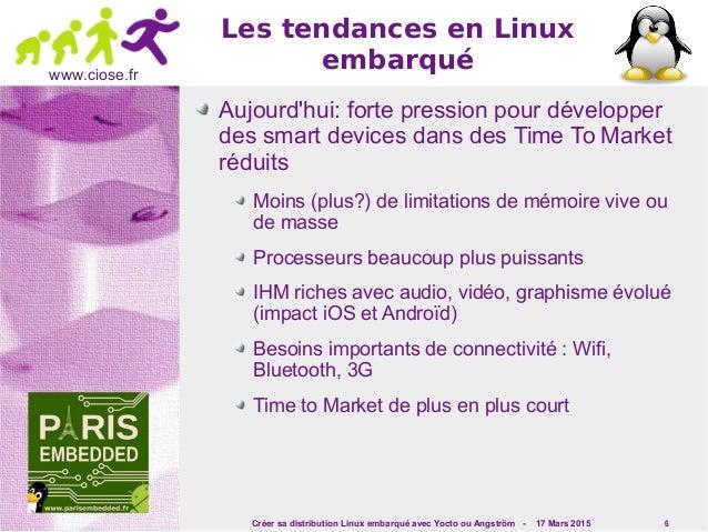 Créer sa distribution Linux embarqué avec Yocto ou Angström - 17 Mars 2015 6 www.ciose.fr Les tendances en Linux embarqué ...