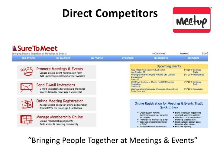 """Direct Competitors<br />""""Bringing People Together at Meetings & Events""""<br />"""