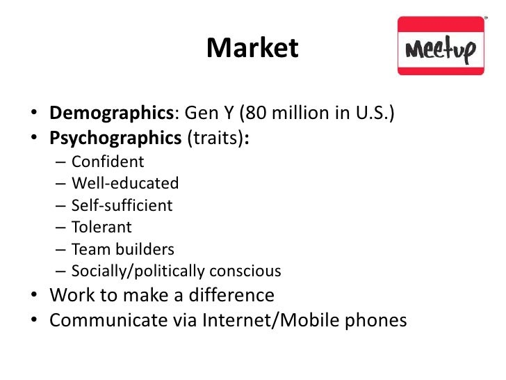 Market<br />Demographics: Gen Y (80 million in U.S.)<br />Psychographics (traits):<br />Confident<br />Well-educated<br />...