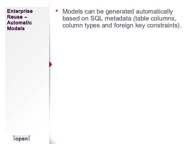 Enterprise Reuse – Automatic Models  Models can be generated automatically based on SQL metadata (table columns, column t...