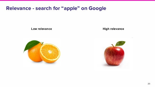 """Relevance - search for """"apple"""" on Google 20 Low relevance High relevance"""