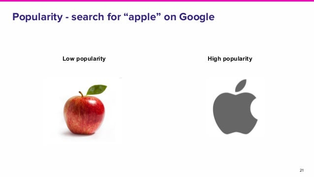 """Popularity - search for """"apple"""" on Google 21 Low popularity High popularity"""