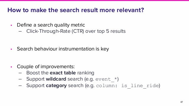 How to make the search result more relevant? 47 • Define a search quality metric ‒ Click-Through-Rate (CTR) over top 5 resu...