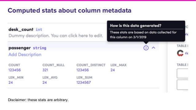 Computed stats about column metadata Disclaimer: these stats are arbitrary.