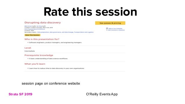 Strata SF 2019 Rate this session session page on conference website O'Reilly Events App