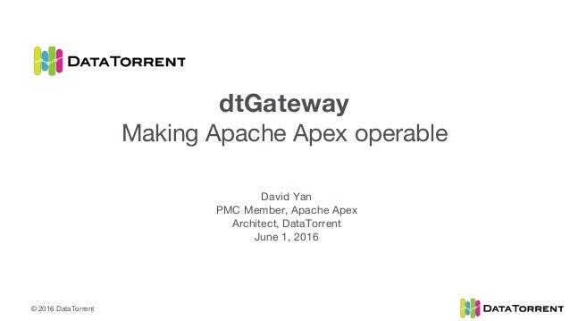 © 2016 DataTorrent David Yan PMC Member, Apache Apex Architect, DataTorrent June 1, 2016 dtGateway Making Apache Apex oper...