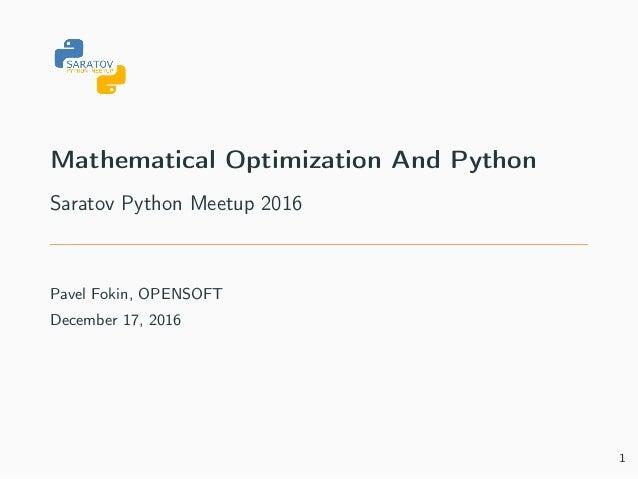 Mathematical optimization and python