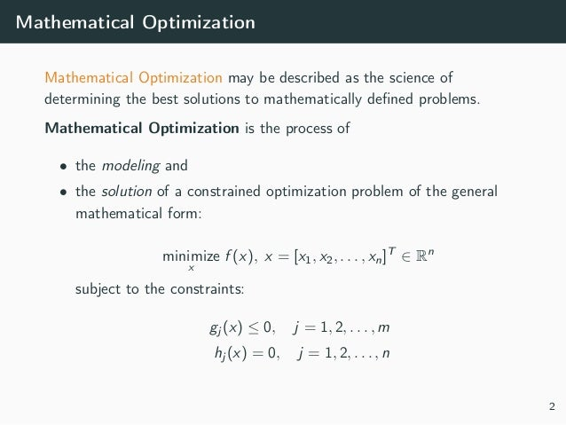 Mathematical optimization and python