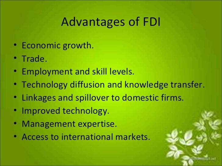 advantages and disadvantages of different types of direct and indirect foreign investments It also list the different types of taxes in india  and the advantages and disadvantages of direct taxes and indirect taxes  for the foreign brands .