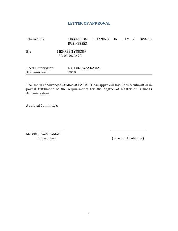 Master thesis supervisor letter