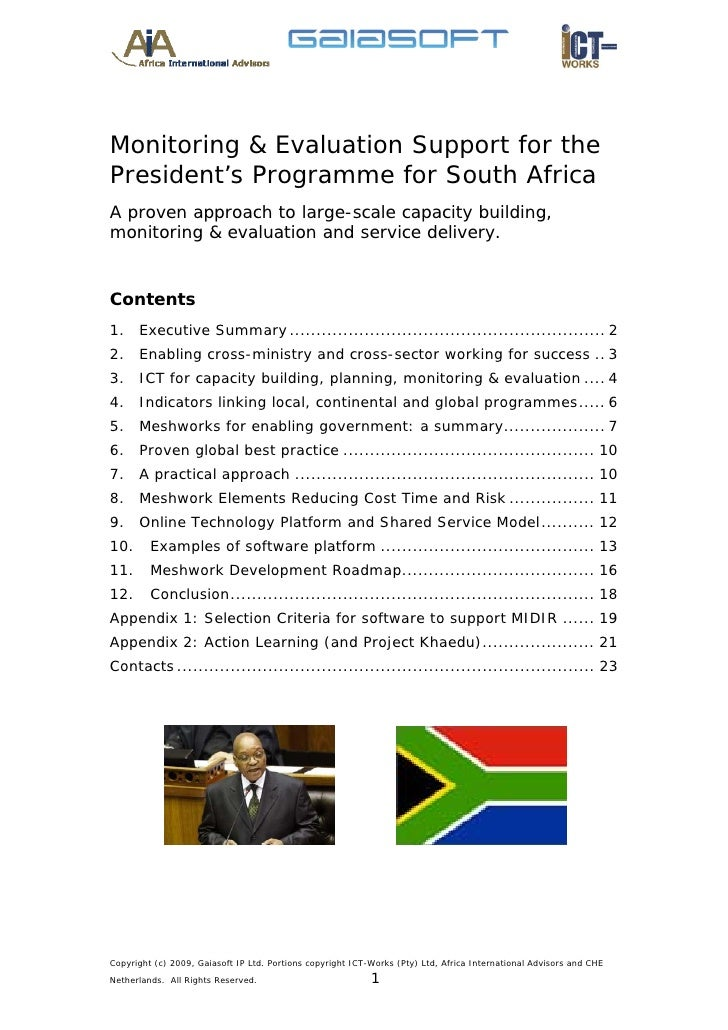 Monitoring & Evaluation Support for the President's Programme for South Africa A proven approach to large-scale capacity b...