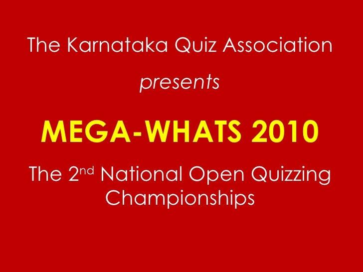 Mega whats 2010 questions final