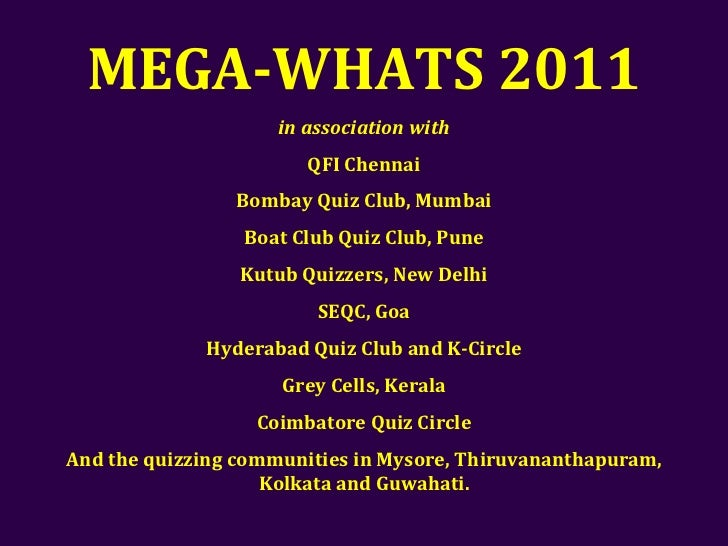 Mega-Whats 2011 Answer Key Slide 2