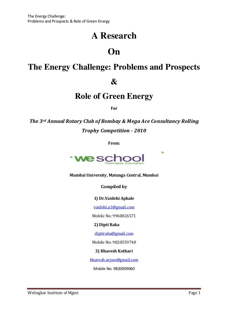 The Energy Challenge:Problems and Prospects & Role of Green Energy                                  A Research            ...