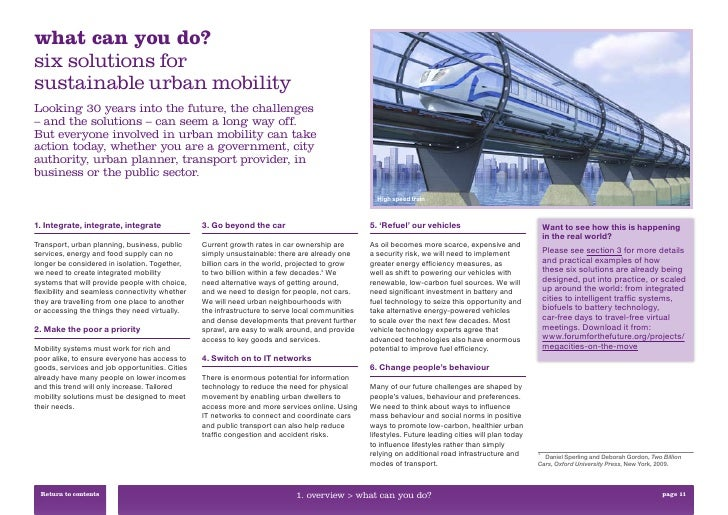 what can you do?six solutions forsustainable urban mobilityLooking 30 years into the future, the challenges– and the solut...