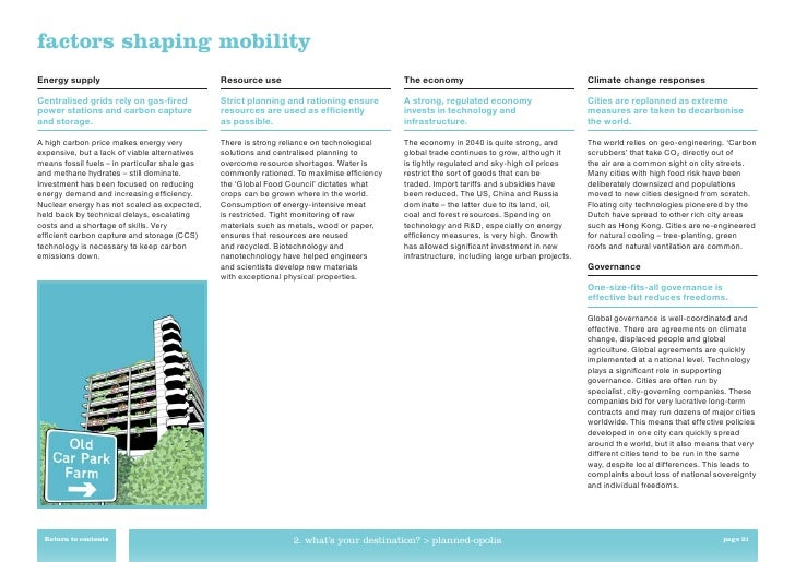 factors shaping mobilityEnergy supply                                  Resource use                                The eco...