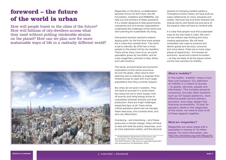 foreword – the future                                          Megacities on the Move, a collaboration                    ...
