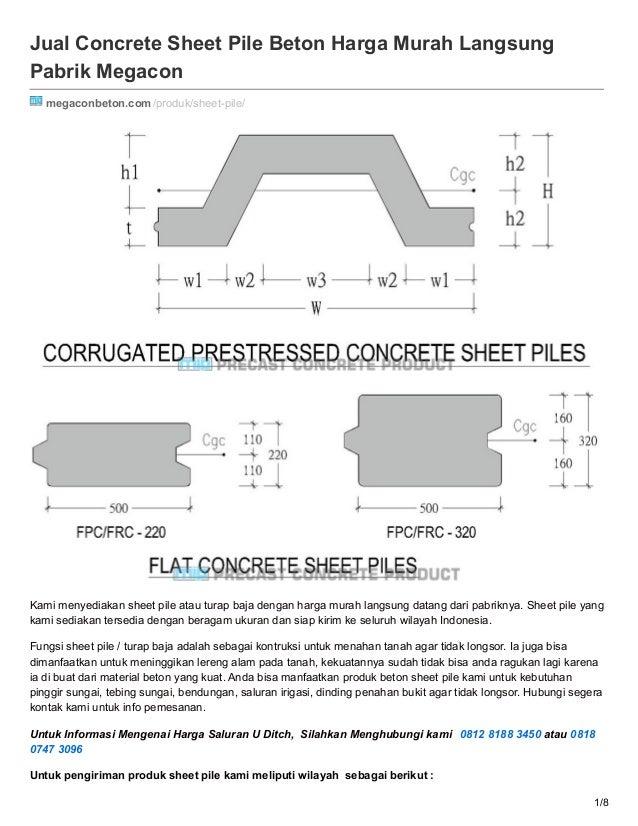 Jual Concrete Sheet Pile Beton Harga Murah Langsung Pabrik Megacon megaconbeton.com/produk/sheet-pile/ Kami menyediakan sh...