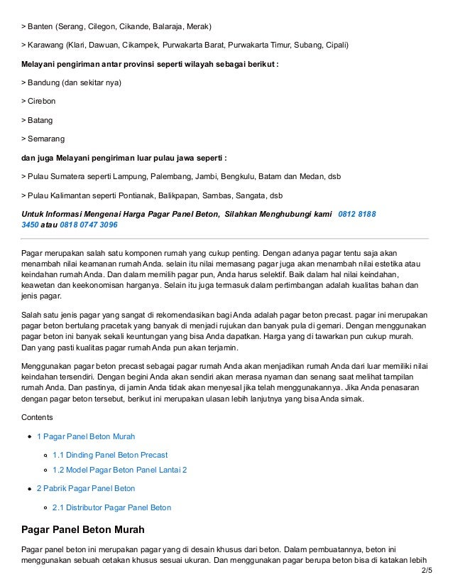 Jual Pagar Panel Beton Precast Pracetak Harga Murah Langsung Pabrik - ☎ 0819 3299 8507 (MegaconBeton.com) Slide 2