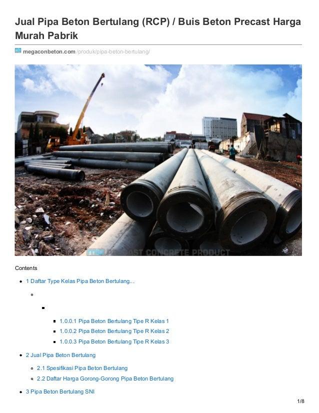 Jual Pipa Beton Bertulang (RCP) / Buis Beton Precast Harga Murah Pabrik megaconbeton.com/produk/pipa-beton-bertulang/ Cont...