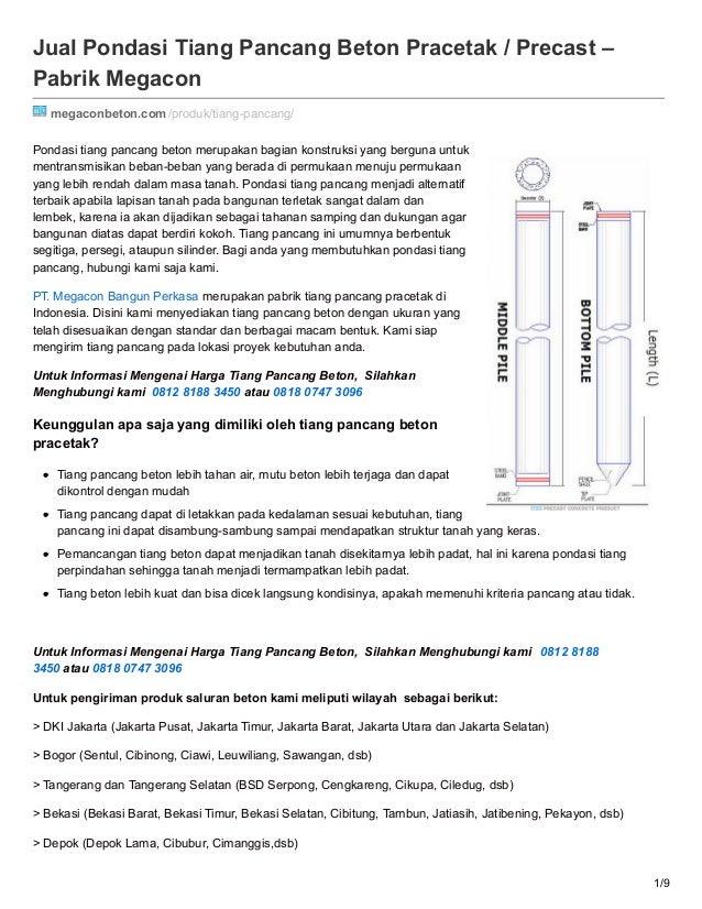 Jual Pondasi Tiang Pancang Beton Pracetak / Precast – Pabrik Megacon megaconbeton.com/produk/tiang-pancang/ Pondasi tiang ...