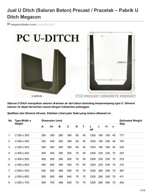Jual U Ditch (Saluran Beton) Precast / Pracetak – Pabrik U Ditch Megacon megaconbeton.com/produk/u-ditch/ Saluran U Ditch ...