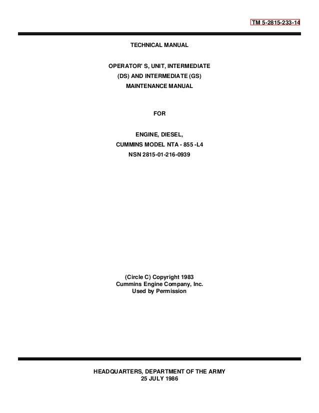 work shop manaul cummins model nta 855 l4 rh slideshare net cummins nta855 workshop manual pdf cummins nta855 service manual